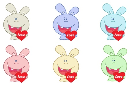 Caring Rabbit Collection Vector