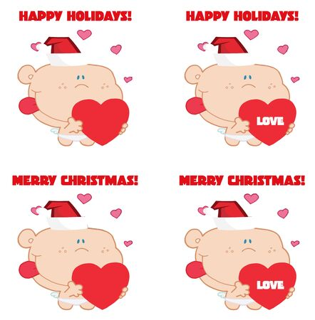 Merry Christmas Greeting Of Cupid Collection