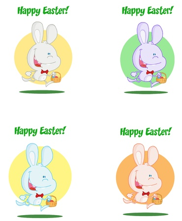 exited: Happy Easter Greeting Over An Exited Running Bunny Collection