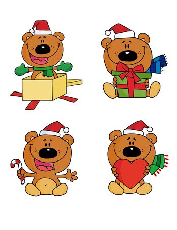Happy Christmas Teddy Bear Collection Stock Vector - 8284517