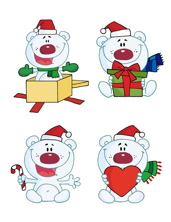 Happy Christmas Polar Bear Collection  Vector