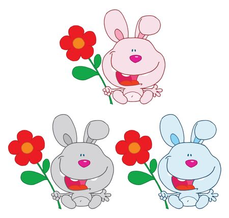Bunny Rabbit Holding A Flower Collection  Vector