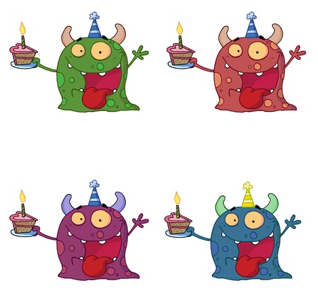 b days: Birthday Monster Wearing A Party Hat And Holding A Slice Of Cake Collection  Illustration