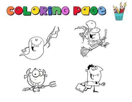 Digital Collage Of Halloween Character Coloring Page Outlines