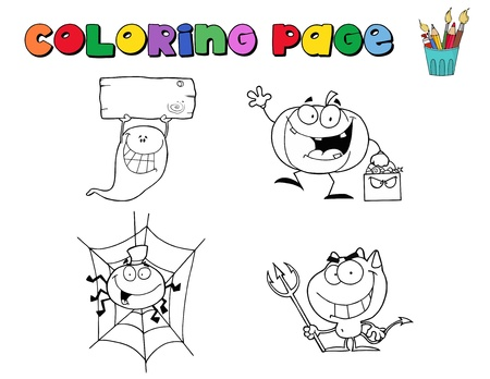 Digital Collage Of Halloween Character Coloring Page Outlines Stock Vector - 8284514