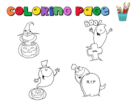 Digital Collage Of Halloween Character Coloring Page Outlines  Stock Vector - 8284520
