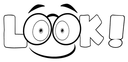 eye glass: Outline Cartoon Text Look With Glasses Smile