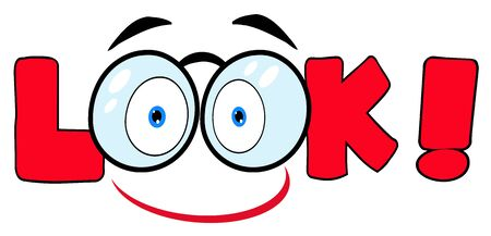 Cartoon Text Look With Glasses Smile  Çizim