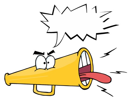communication metaphor: Megaphone Cartoon Character Screaming With Shout Bubble