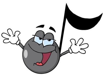 Muzikale Opmerking Cartoon karakter zingen