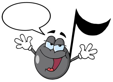 Musical Note Cartoon Character Singing With Speech Bubble  Vector