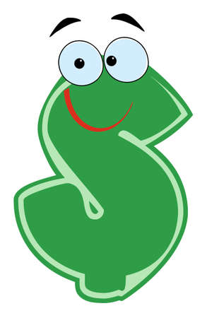 Happy Dollar Cartoon Character