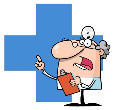 Doctor Holding A Clipboard Over A Blue Cross  Stock Vector - 8284479