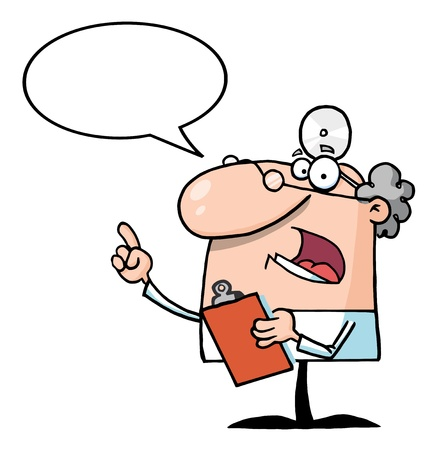 a physician: Doctor Holding A Clipboard With Speech Bubble  Illustration