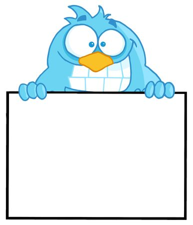 Blue Bird Presenting A Blank Sign