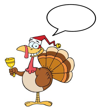 Turkey Cartoon Character Ringing A Bell With Speech Bubble  Vector