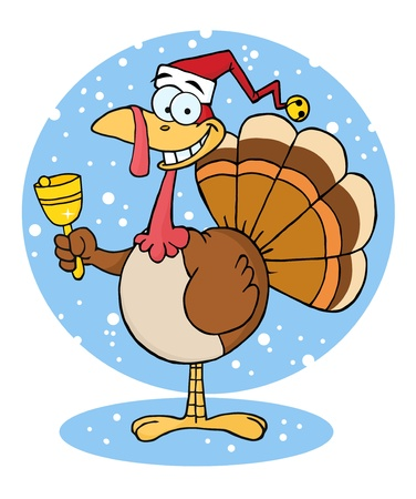 christmas turkey: Christmas Turkey Cartoon Character Ringing A Bell
