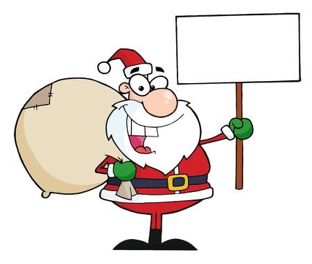 Jolly Christmas Santa Holding A Blank Sign  Vector