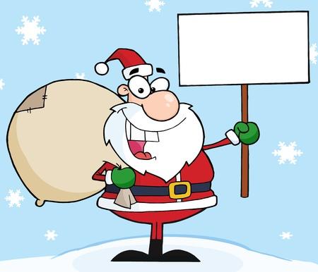 Jolly Christmas Santa Holding A Blank Sign In The Snow  Vector