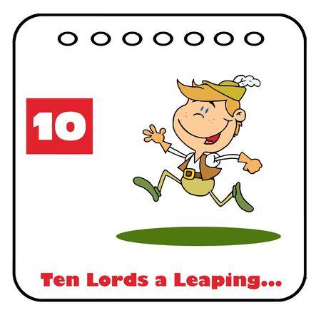 Twelve Days Of Christmas Calendar 10  Vector