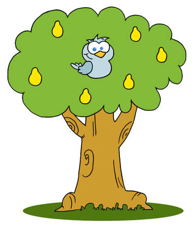 Yellow Partridge In A Pear Tree  Stock Vector - 8284494
