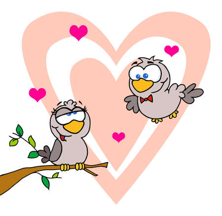 two: Two Turtle Doves By A Branch In Front Of A Big Heart  Illustration