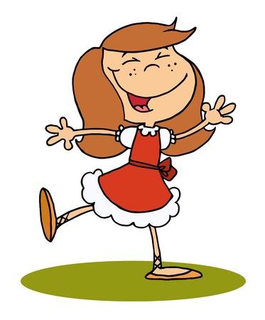 Glücklich Brunette Girl-Tanz  Illustration