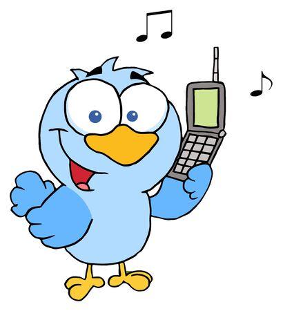 telephone cartoon: Blue Bird With Cell Phone