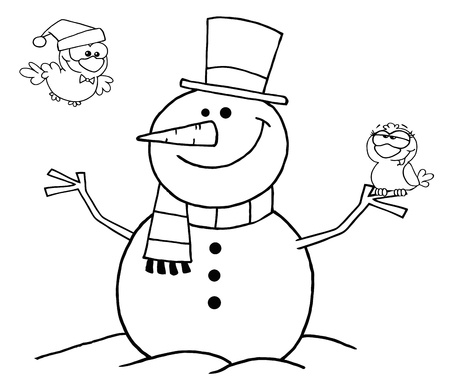 Outlined Friendly Snowman With A Cute Birds  Vector