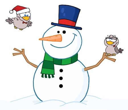 Friendly Snowman With A Two Cute Birds  Ilustrace