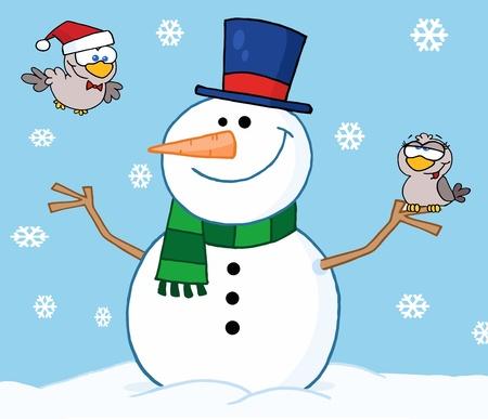 Friendly Snowman With A Cute Birds Vector