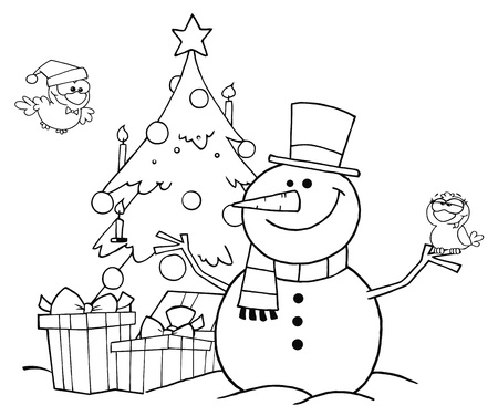 Outlined Friendly Snowman With A Cute Birds And Christmas Tree  Vector