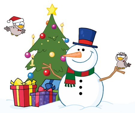 Friendly Snowman With A Two Cute Birds And Christmas Tree  Vector