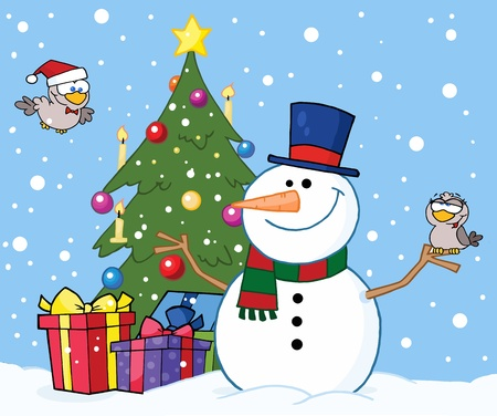 Friendly Snowman With A Cute Birds And Christmas Tree  Vector