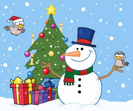christmas tree illustration: Friendly Snowman With A Cute Birds And Christmas Tree  Illustration