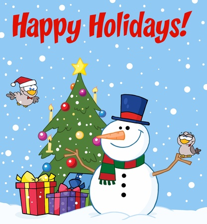 Happy Holidays Greeting With A Snowman And Cute Birds  Vector
