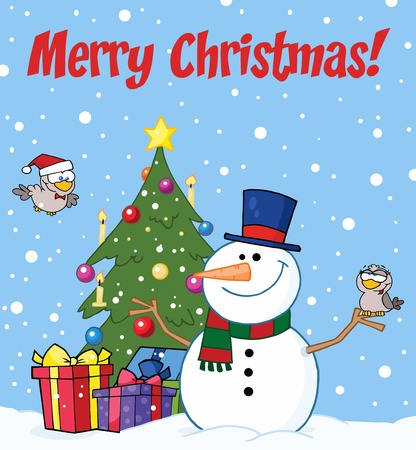 Merry Christmas Greeting With A Snowman And Cute Birds