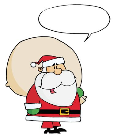 kris kringle: Santa Claus Carrying A Toy Sack With Speech Bubble Illustration