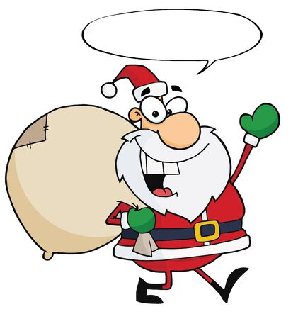 toy sack: Jolly Christmas Santa Waving And Walking With His Toy Sack With Speech Bubble  Illustration