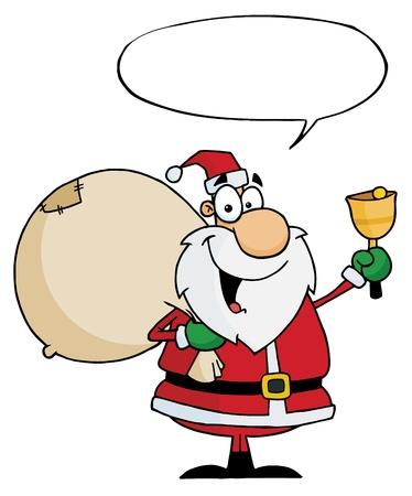 Santa Claus With Speech Bubble Waving A Bell  Vector