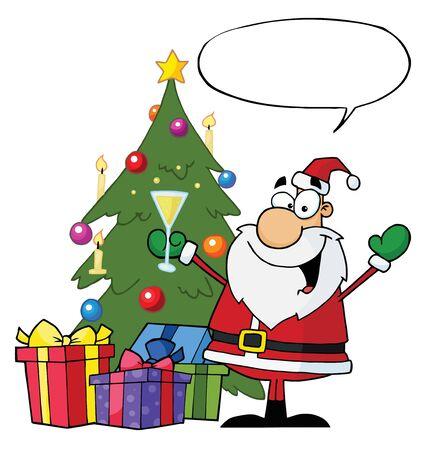 クリスマス サンタ飲むシャンパンと吹き出しを木のそばに立って