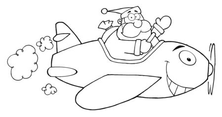 Outlined Santa Flying With Christmas Plane  Vector