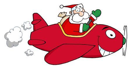 サンタ クリスマスの飛行機で飛んで