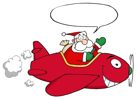 Santa Flying With Christmas Plane With Speech Bubble Vector