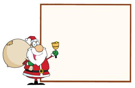 空白の看板を提示する陽気なサンタ  イラスト・ベクター素材
