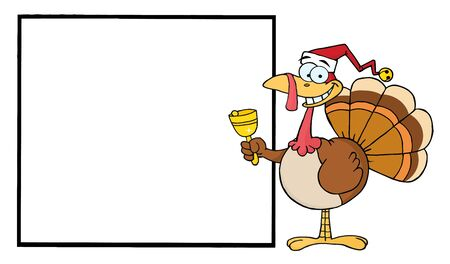 Turkey Cartoon Character Ringing A Bell And Presenting A Blank Sign  Vector