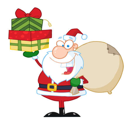 kringle: Santa Holding Up A Stack Of Gifts