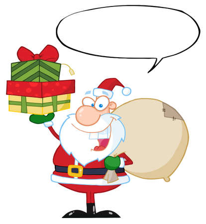 Santa Holding Up A Stack Of Gifts With Speech Bubble  Vector