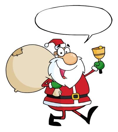 Santa Claus Waving A Bell With Speech Bubble  Vector