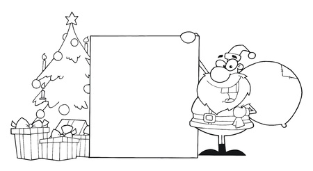 Outline Santa Claus Presenting A Blank Sign With Christmas Tree  Illustration